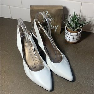 Women's white pointed toe sling back dress shoes
